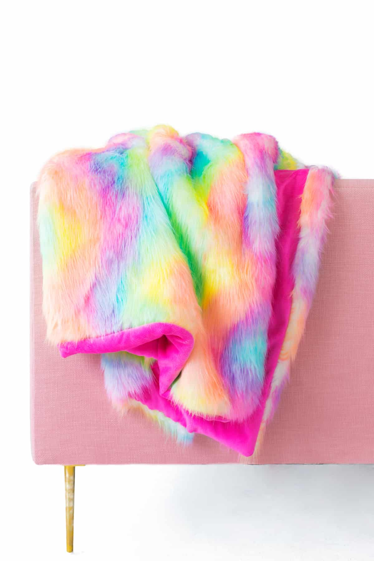 Technicolour faux fur blanket