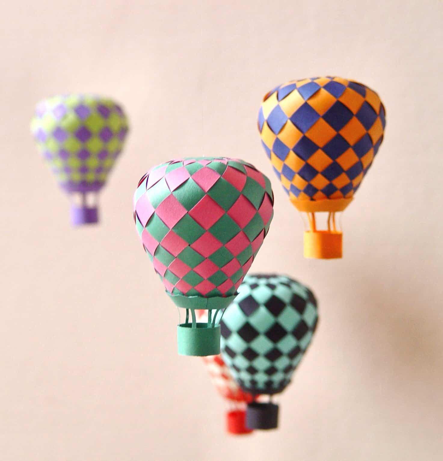 Woven paper hot air balloons