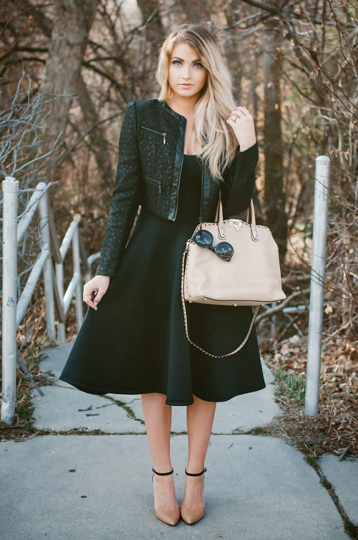 Black dress and bomber jacket fall outfit
