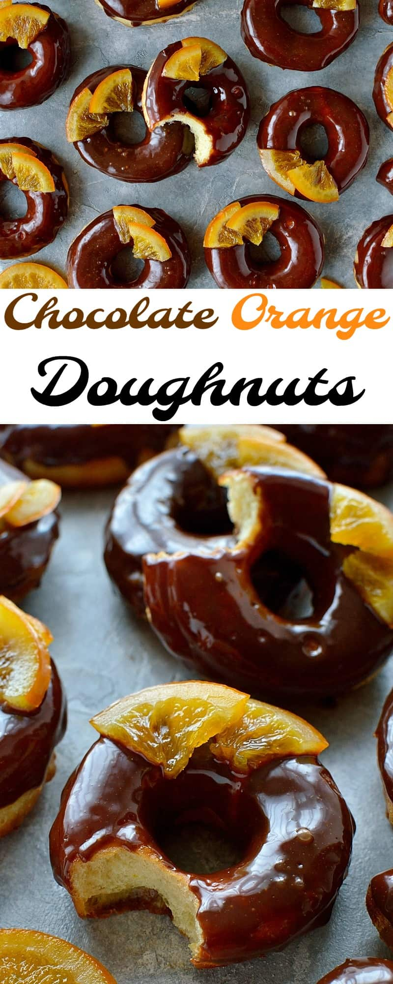Chocolate orange doughnuts – soft, light-as-air orange infused yeast doughnuts with chocolate orange glaze and candied oranges – pure bliss!