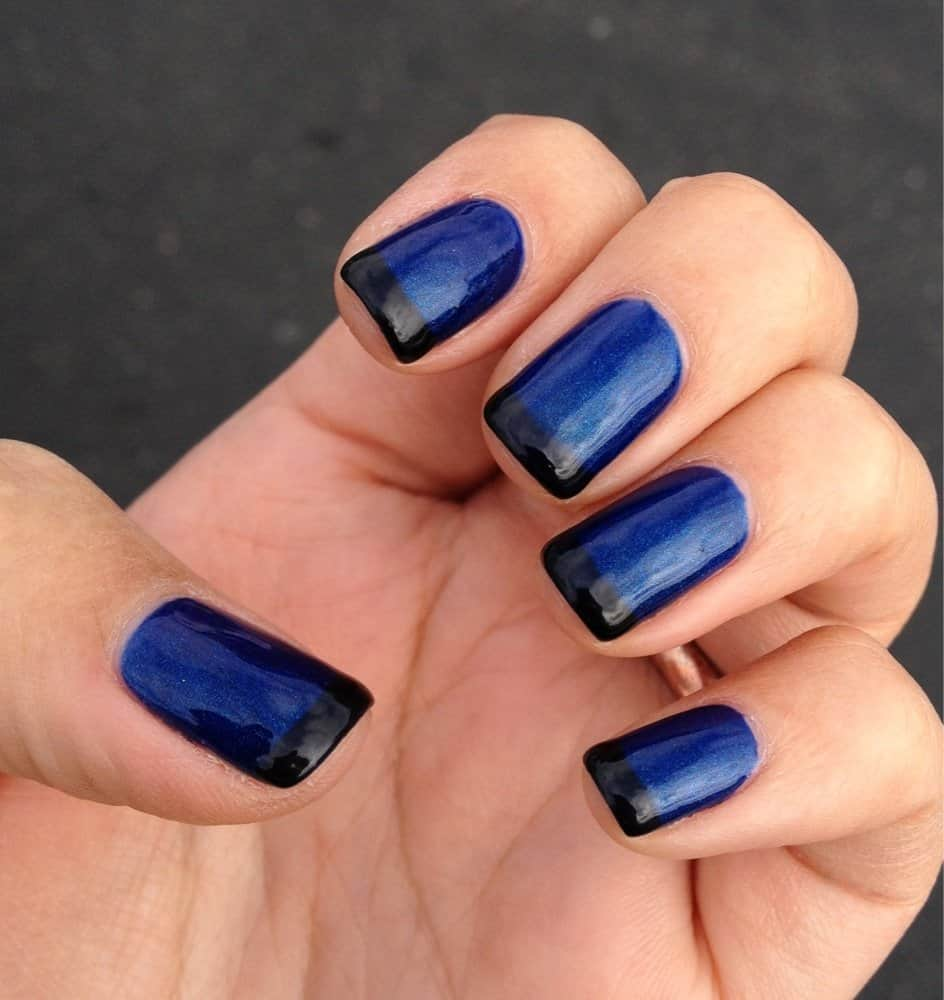 Dark blue and black nail art