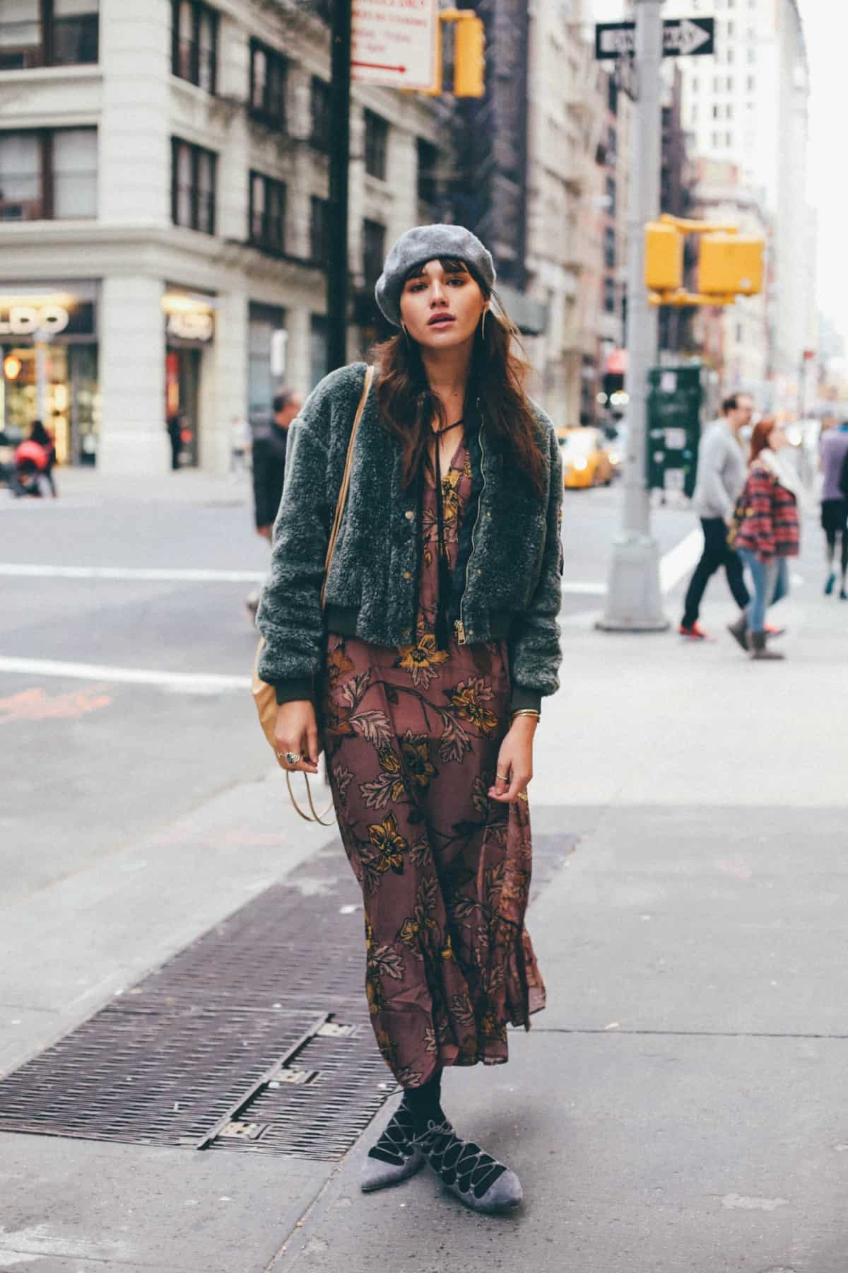 Fall floral prints and layer fall outfit