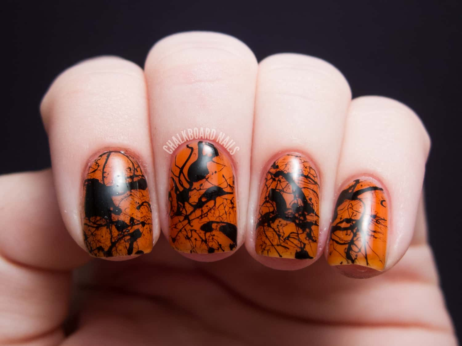 Halloween splatter fall nails