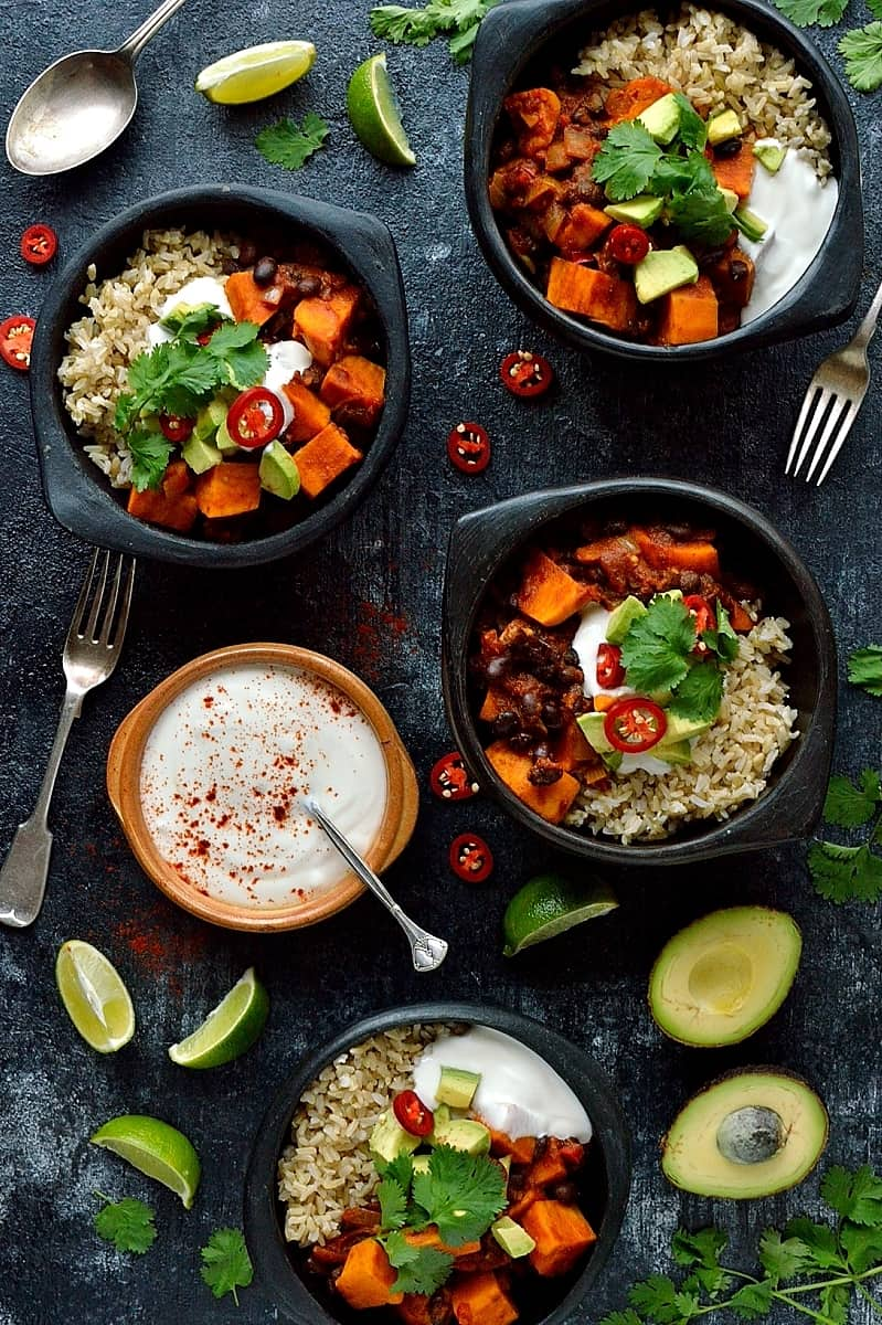 Sweet potato and black bean chilli – an easy, comforting vegan meal for the colder months.