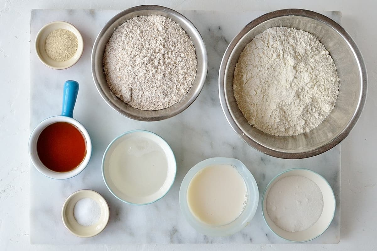 Vegan wholewheat maple cinnamon buns dough ingredients