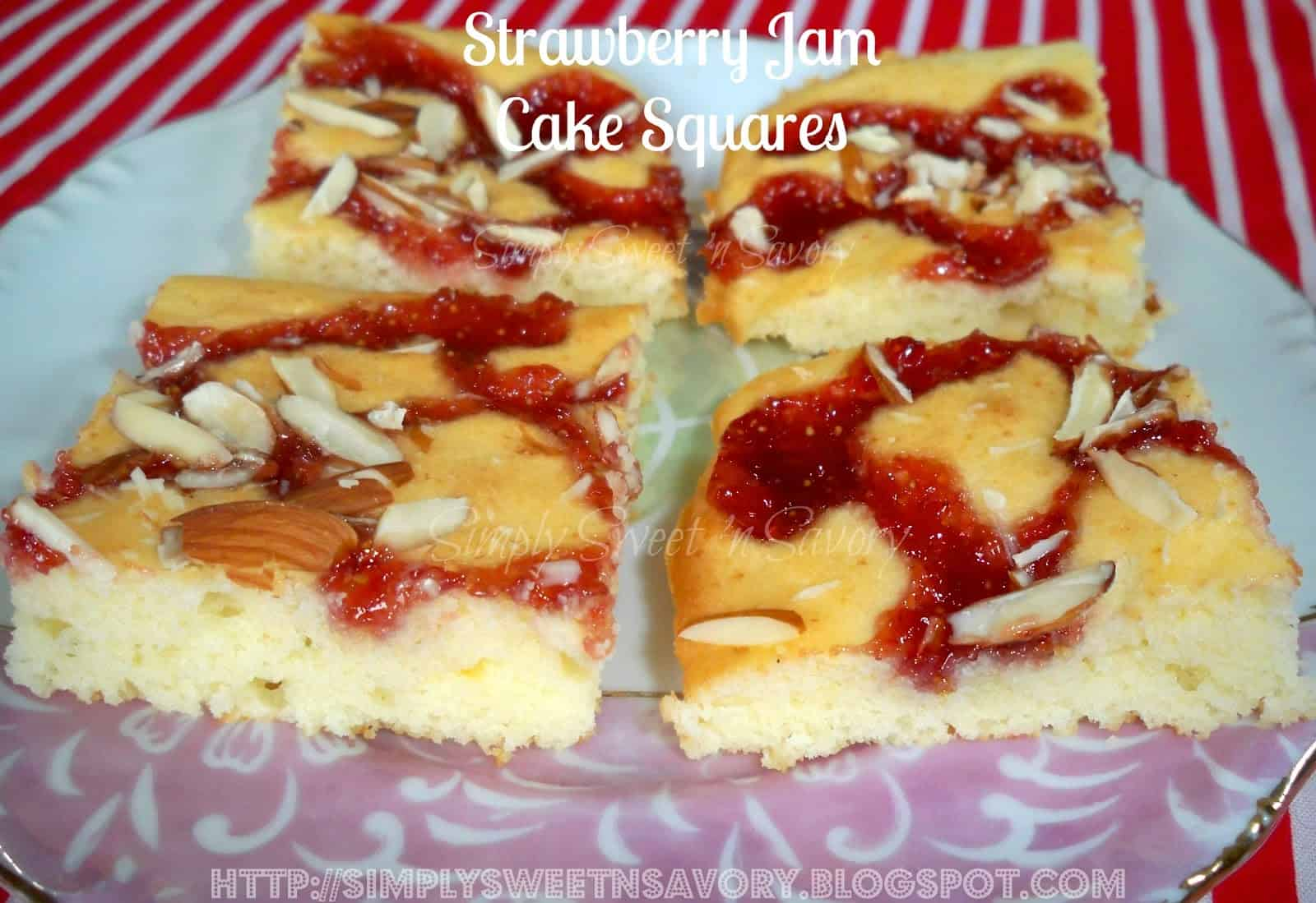 Almond covered strawberry jam cake squares