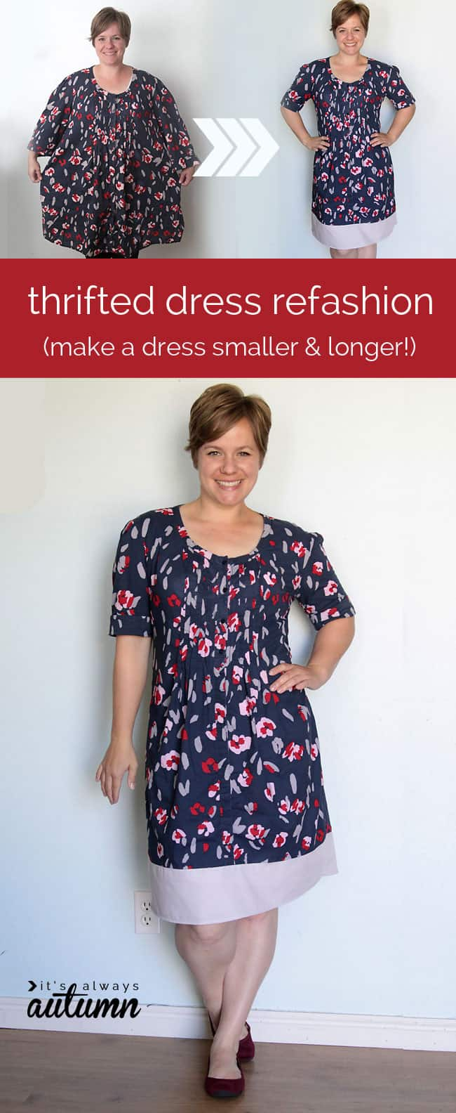 Baggy short dress to fitted long dress