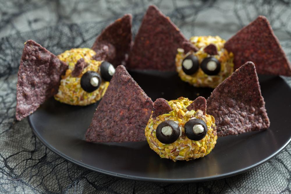 Bat cheese balls halloween appetizer ideas