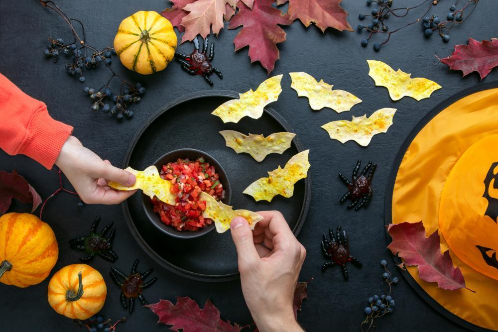 Bat tortilla chips halloween finger food ideas