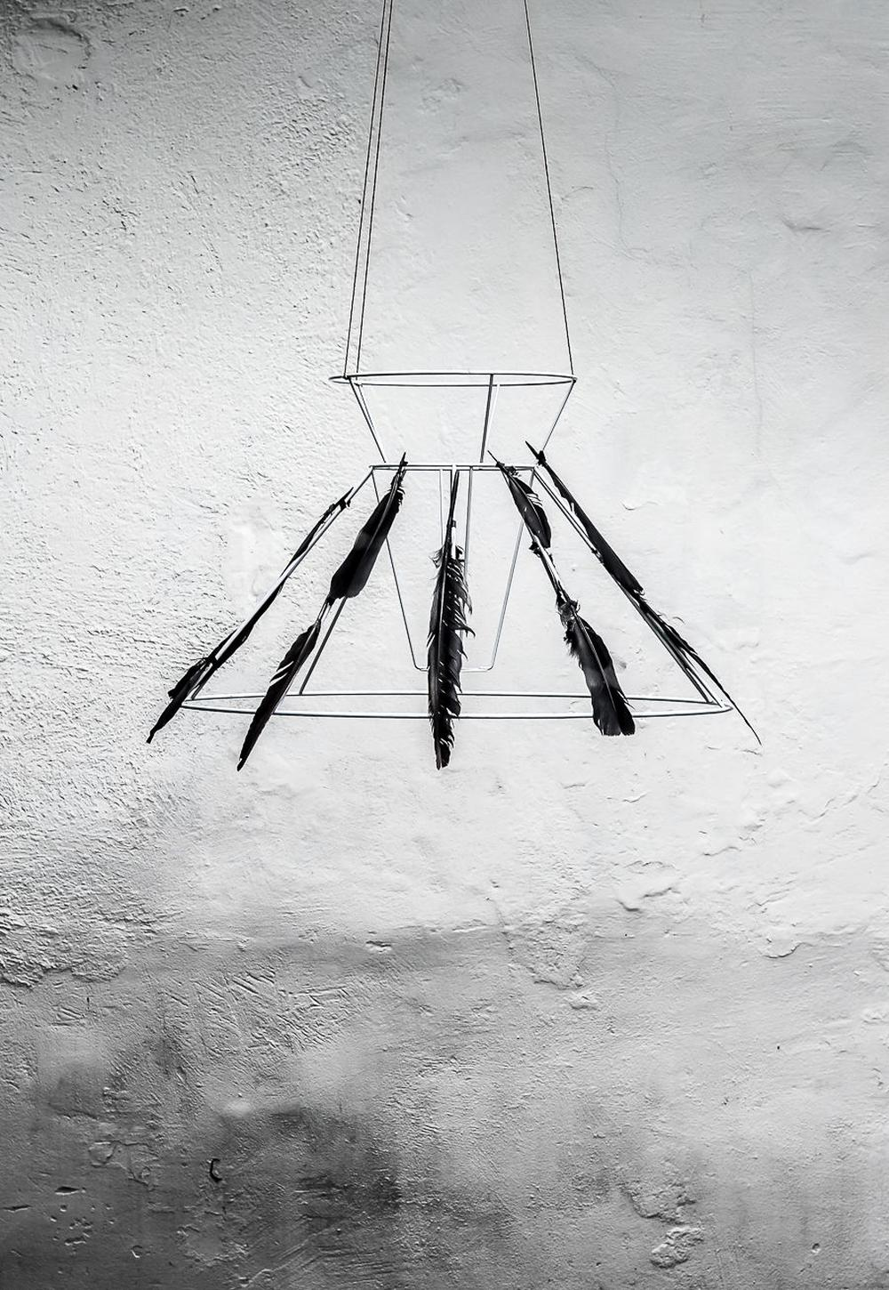 Black feather chandelier halloween arts and crafts