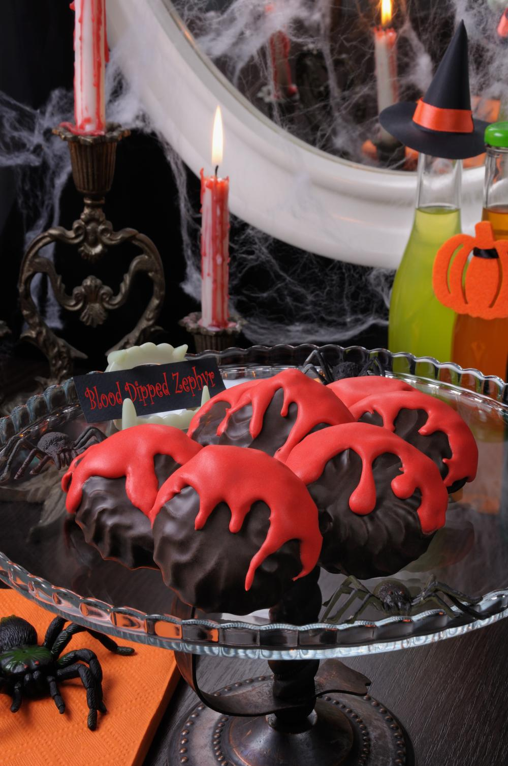 Blood dipped zephyr finger foods for halloween party