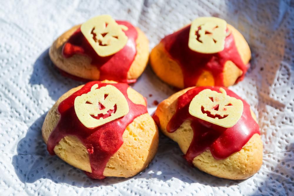 Bloody cookies with pumpkin chips halloween finger foods