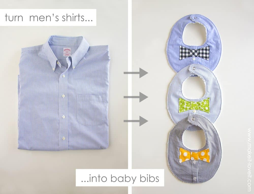 Bow tie bibs made from dress shirts