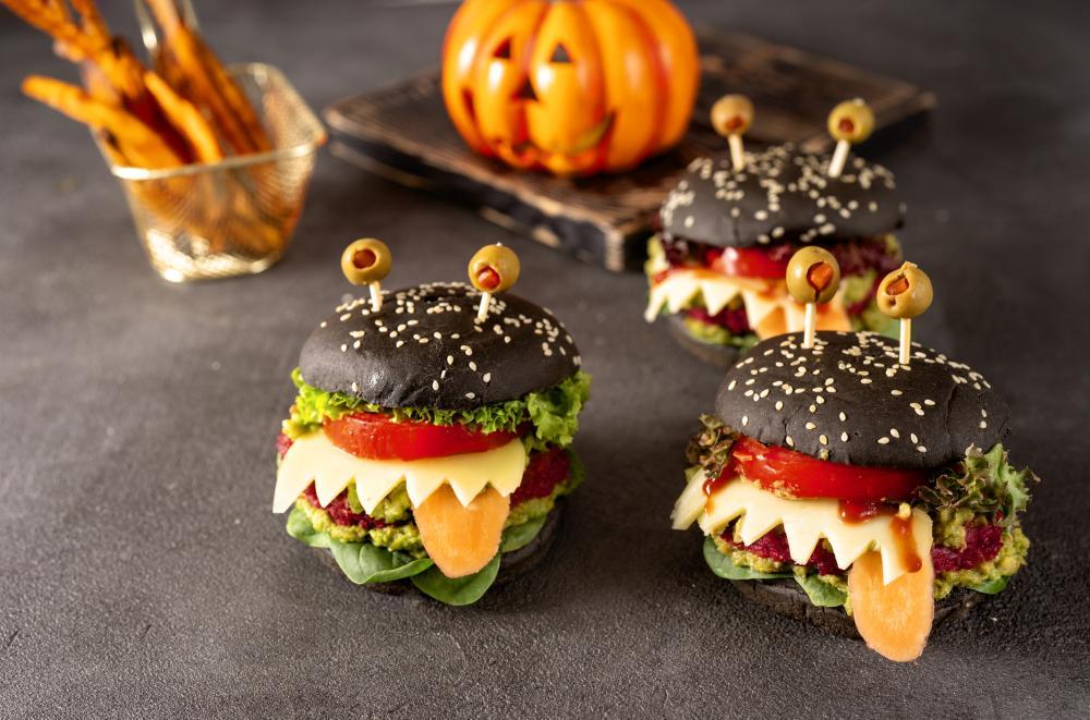 Burger monsters halloween finger food ideas