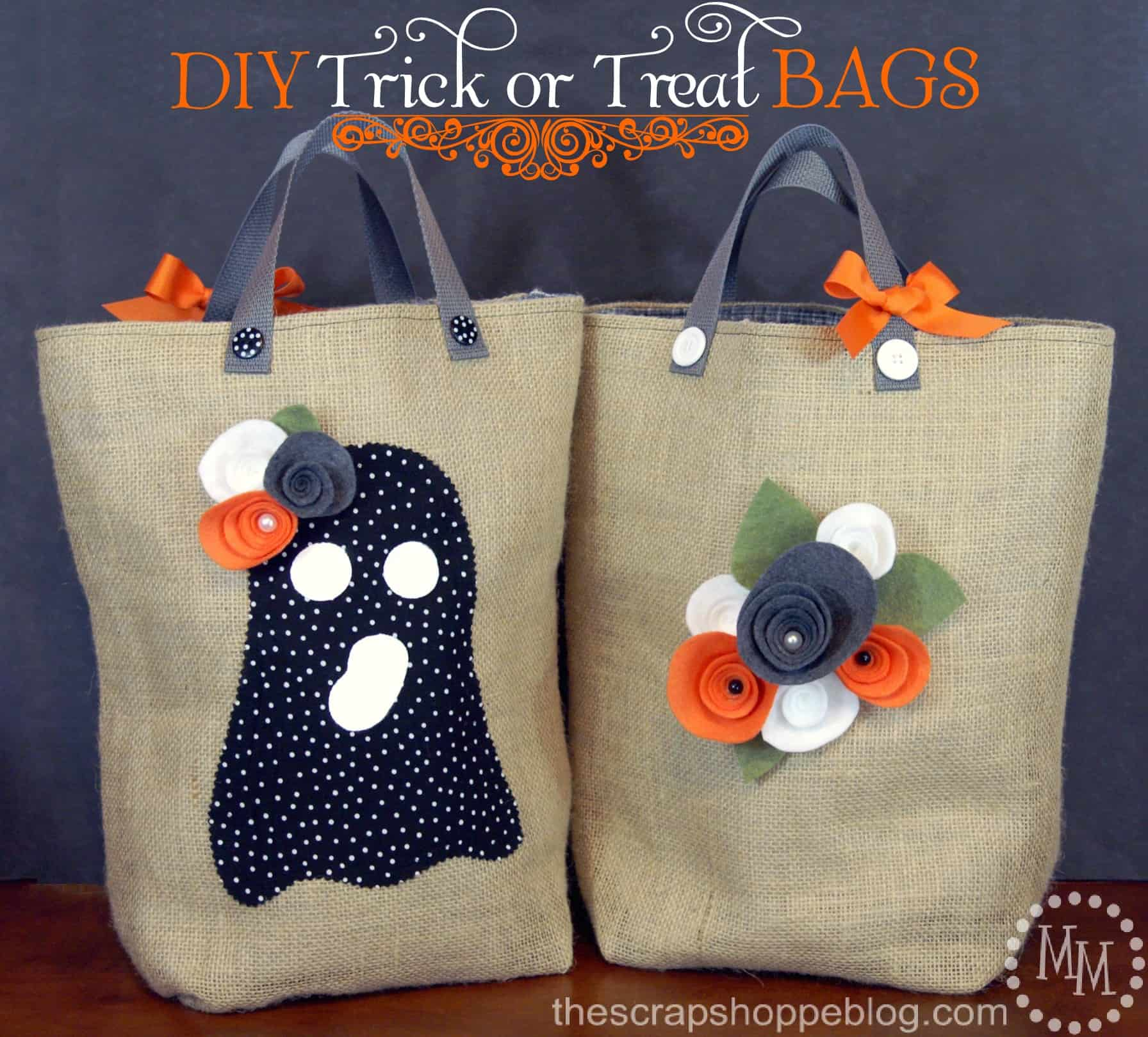 Burlap and felt trick or treat bags