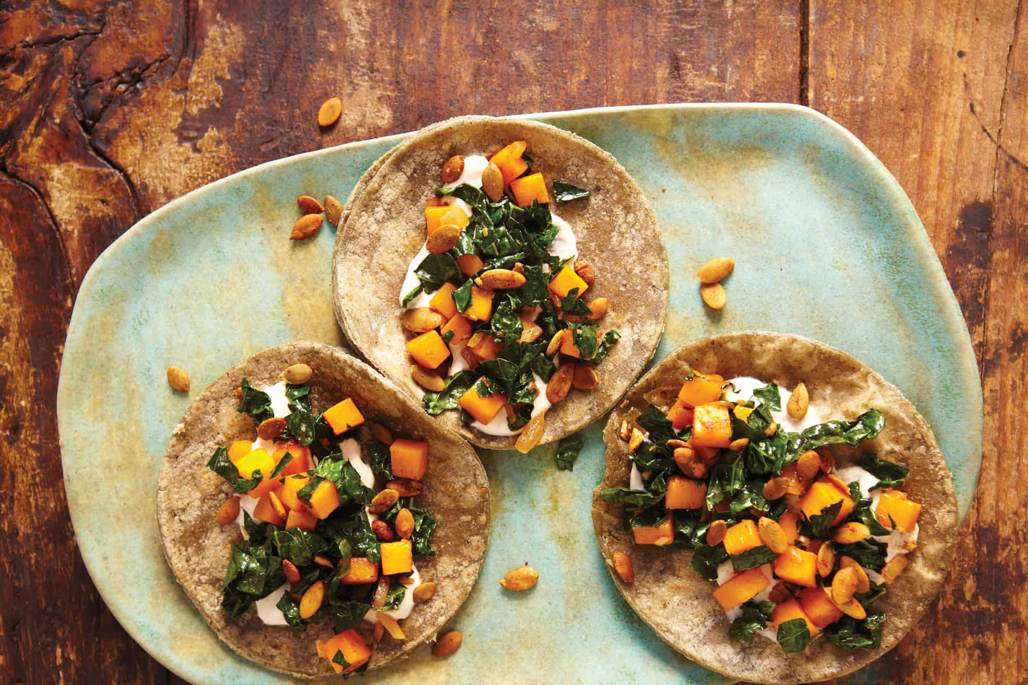 Butternut squash and kale tacos