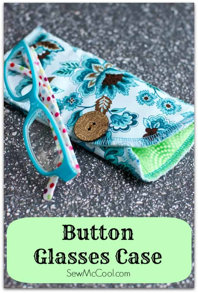 Buttoned fabric glasses case
