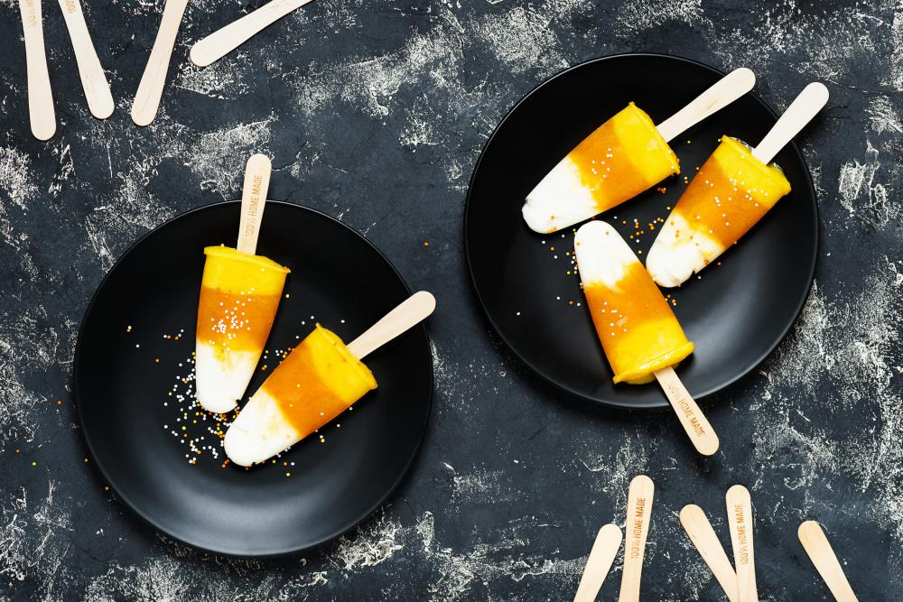 Candy corn popsicles healthy halloween treats to hand out