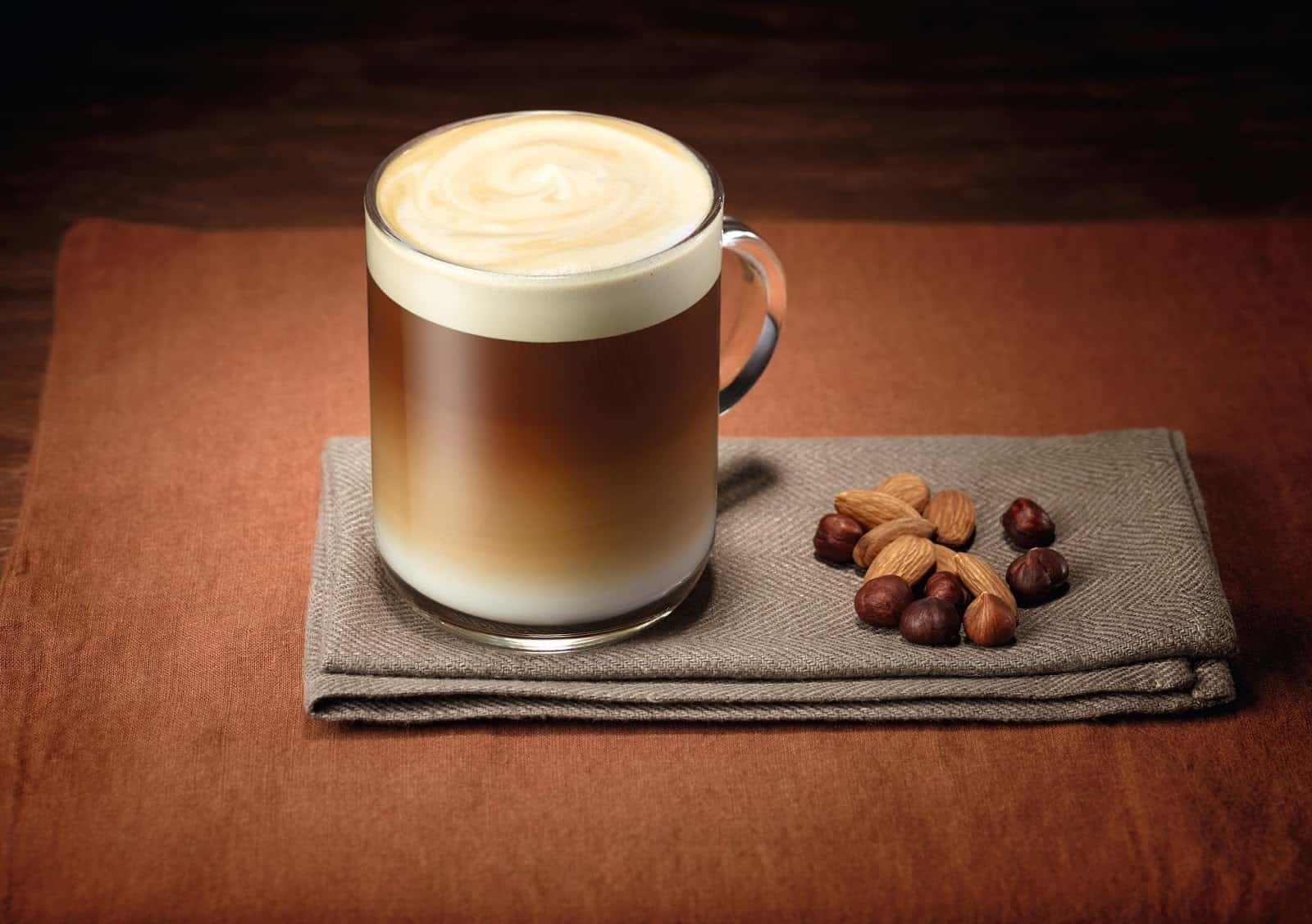 Caramel chocolate hazelnut latte