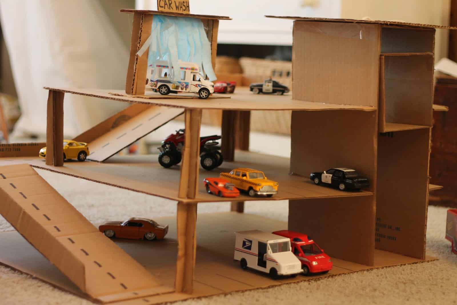 Cardboard box toy car parking garage