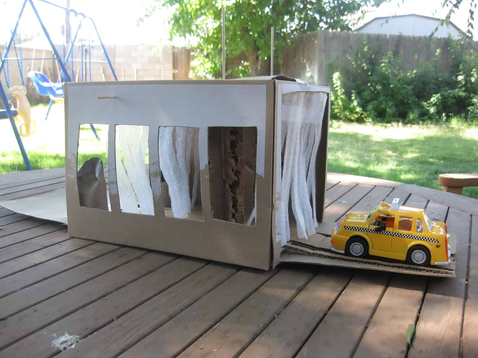 Cardboard box toy car wash