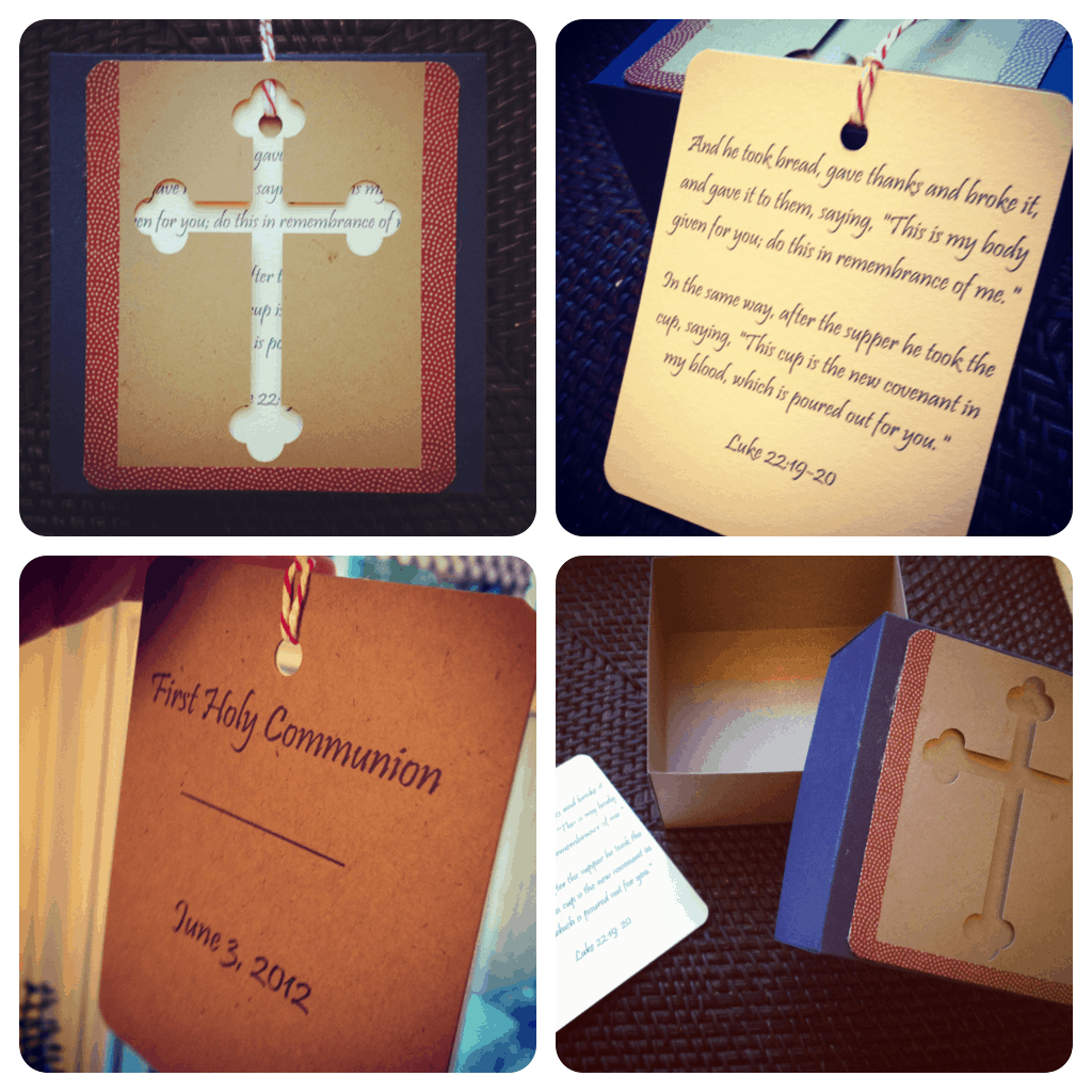 Cardboard cut out first communion cards
