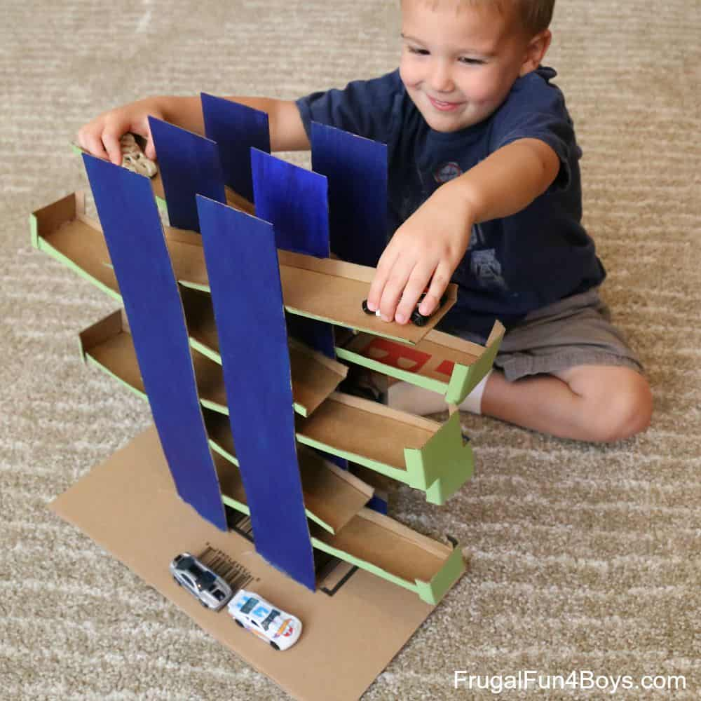 Cardboard toy car racing game