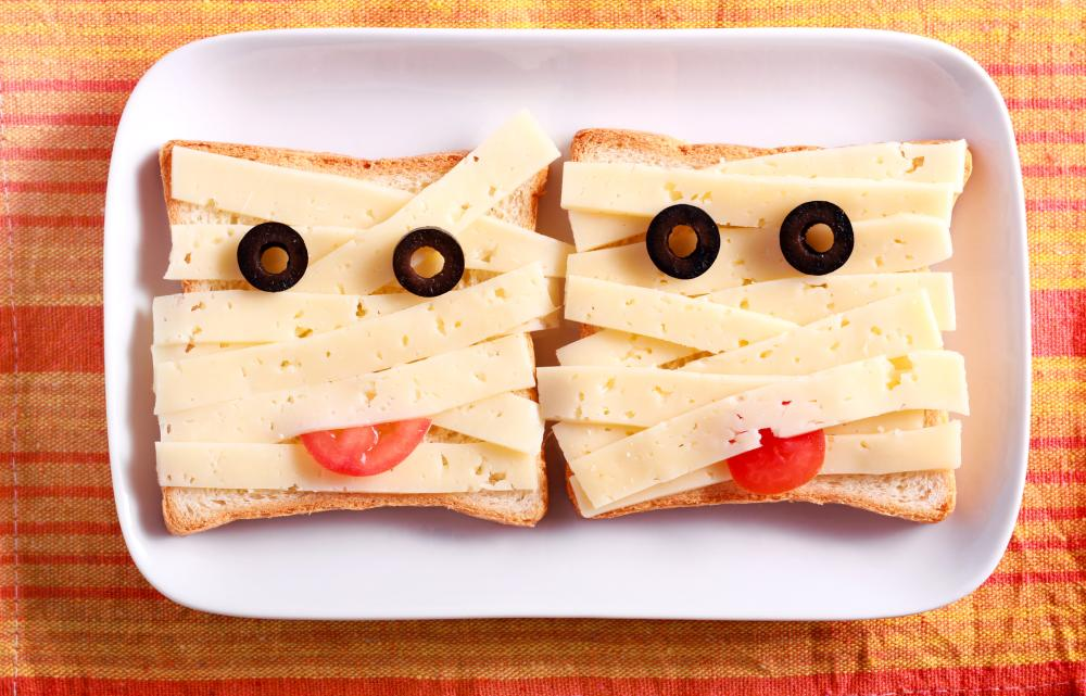 Cheese and bread sandwiches halloween treats