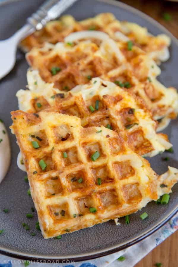 Cheesy waffle maker hashbrowns