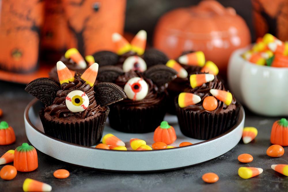 Chocolate cupcake bats halloween party food for kids