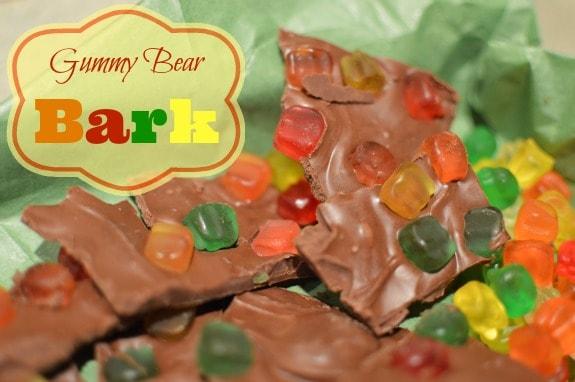 Chocolate gummy bear bark