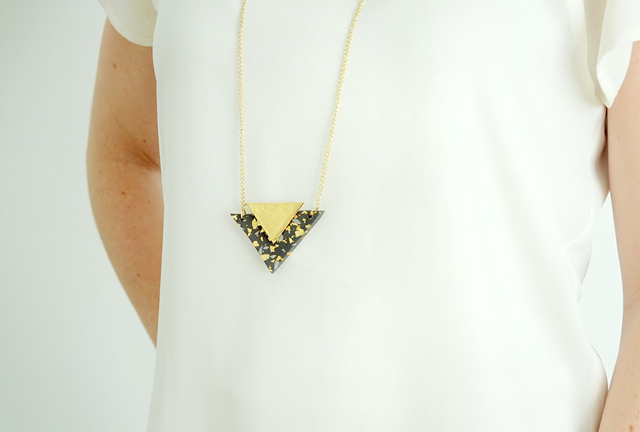 Clay triangle necklace 12