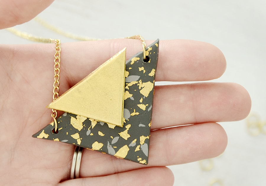 Clay triangle necklace 15