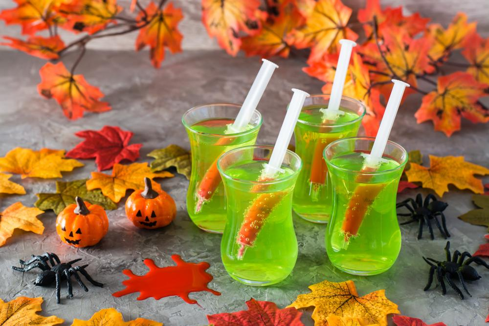 Cocktail syringes party halloween treats