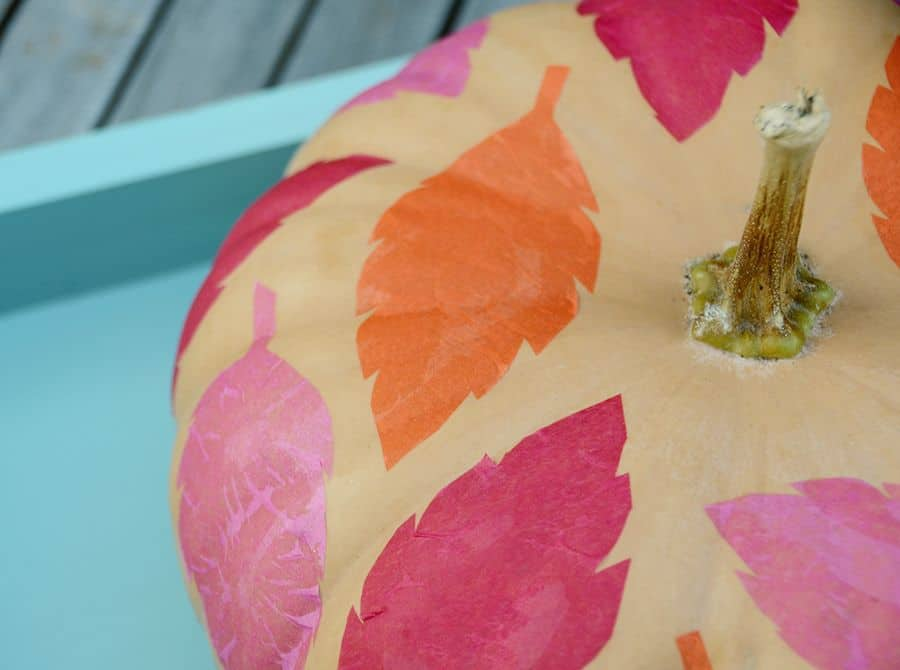 Colorful diy tissue paper leaf pumpkin