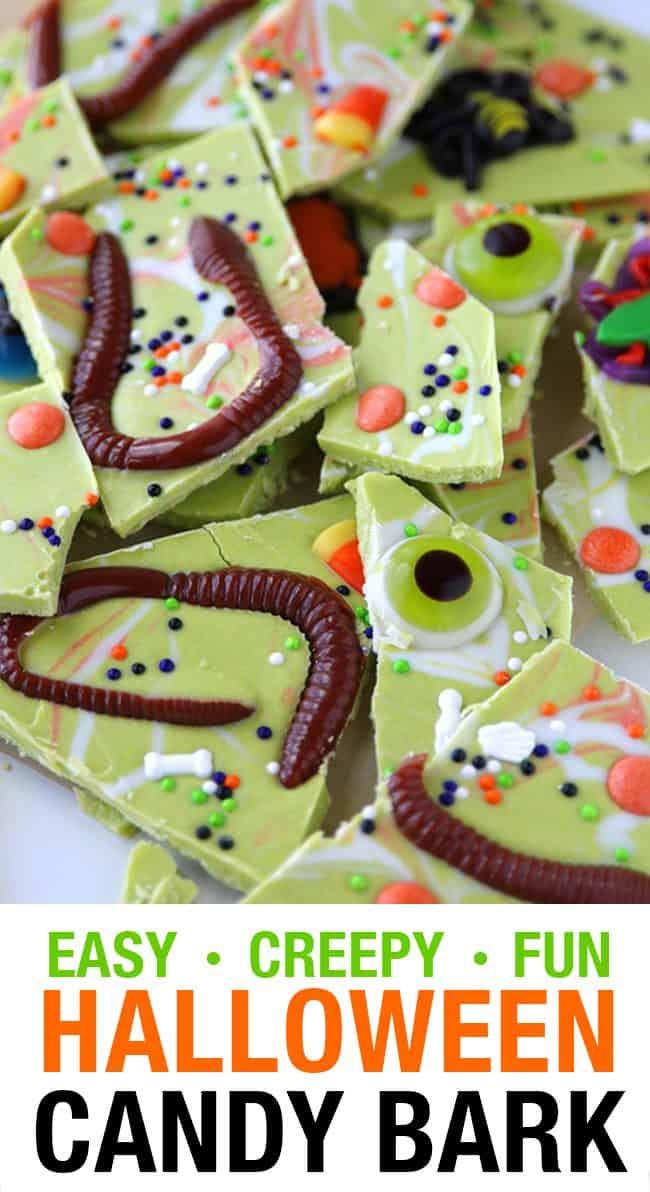 Creepy halloween candy bark