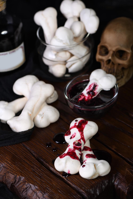 Creepy meringue bones buffet halloween party food