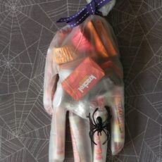 Creepy rubber glove candy favour