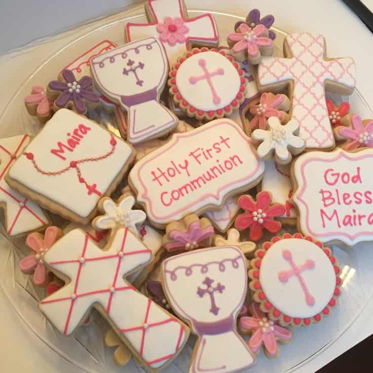 Cute iced first communion sugar cookies
