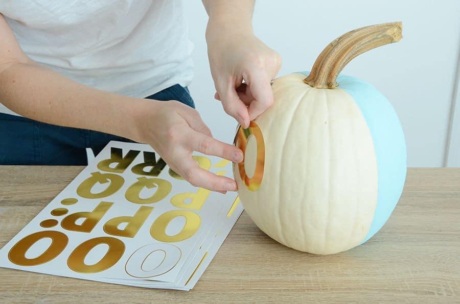 Diy black and white patterned pumpkin glue