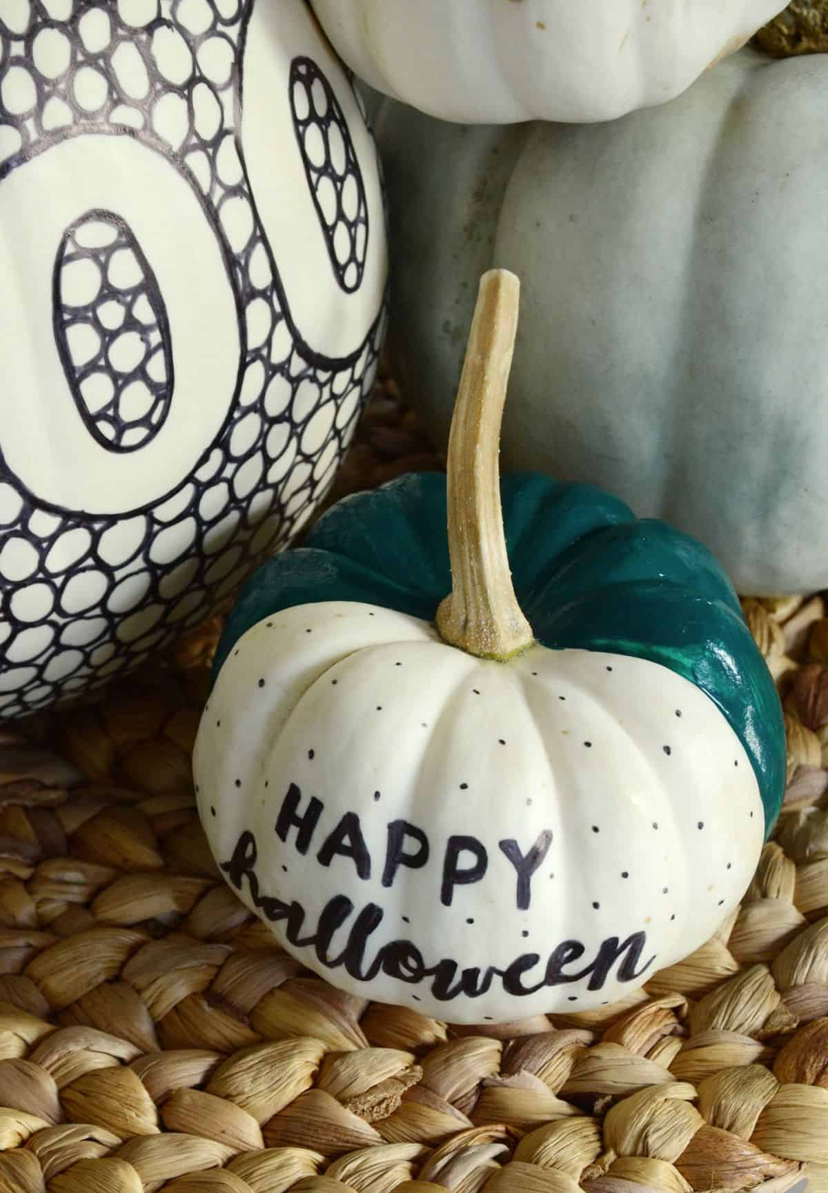 Diy black and white patterned pumpkin happy halloween