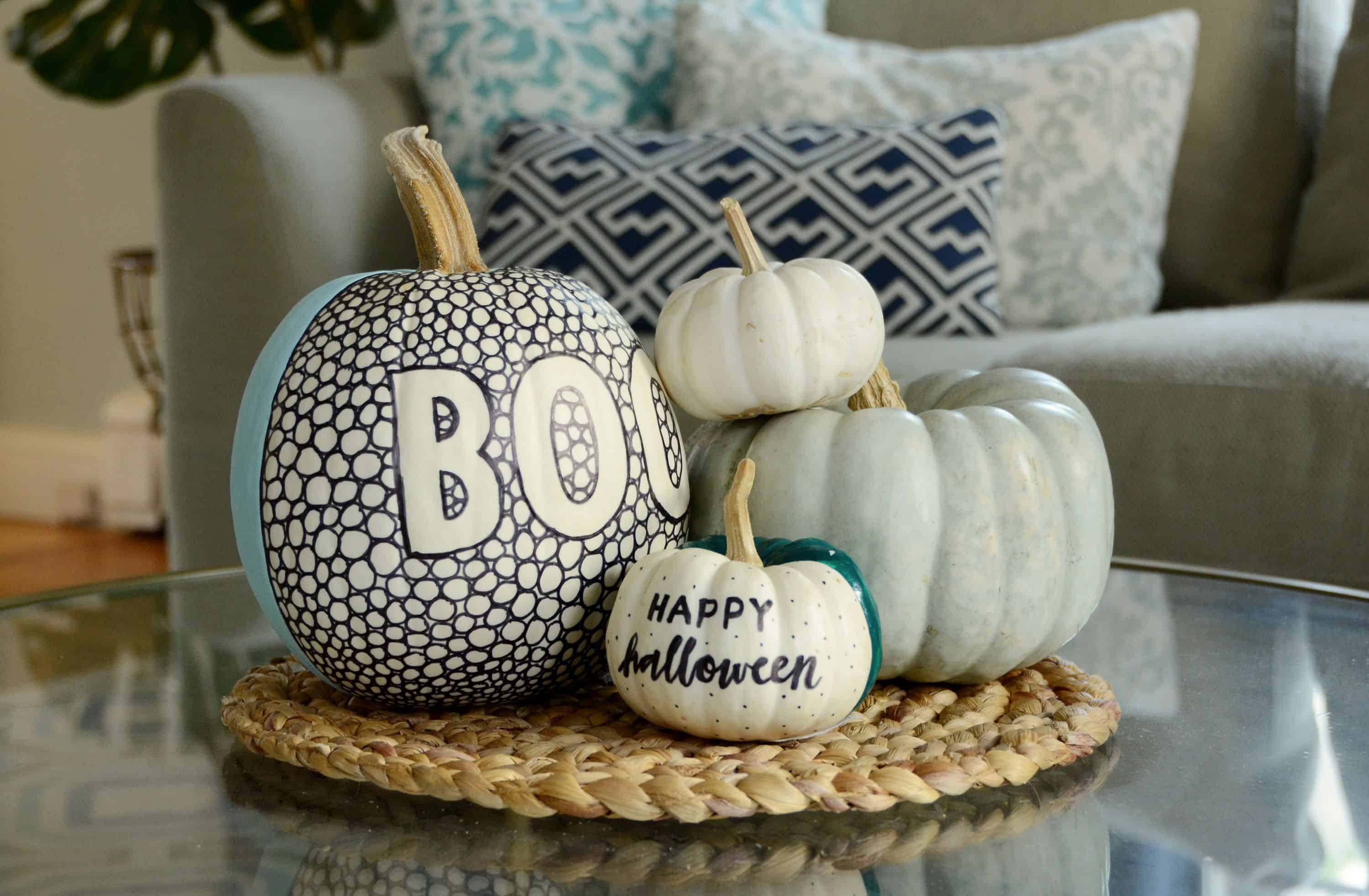 Diy black and white patterned pumpkin