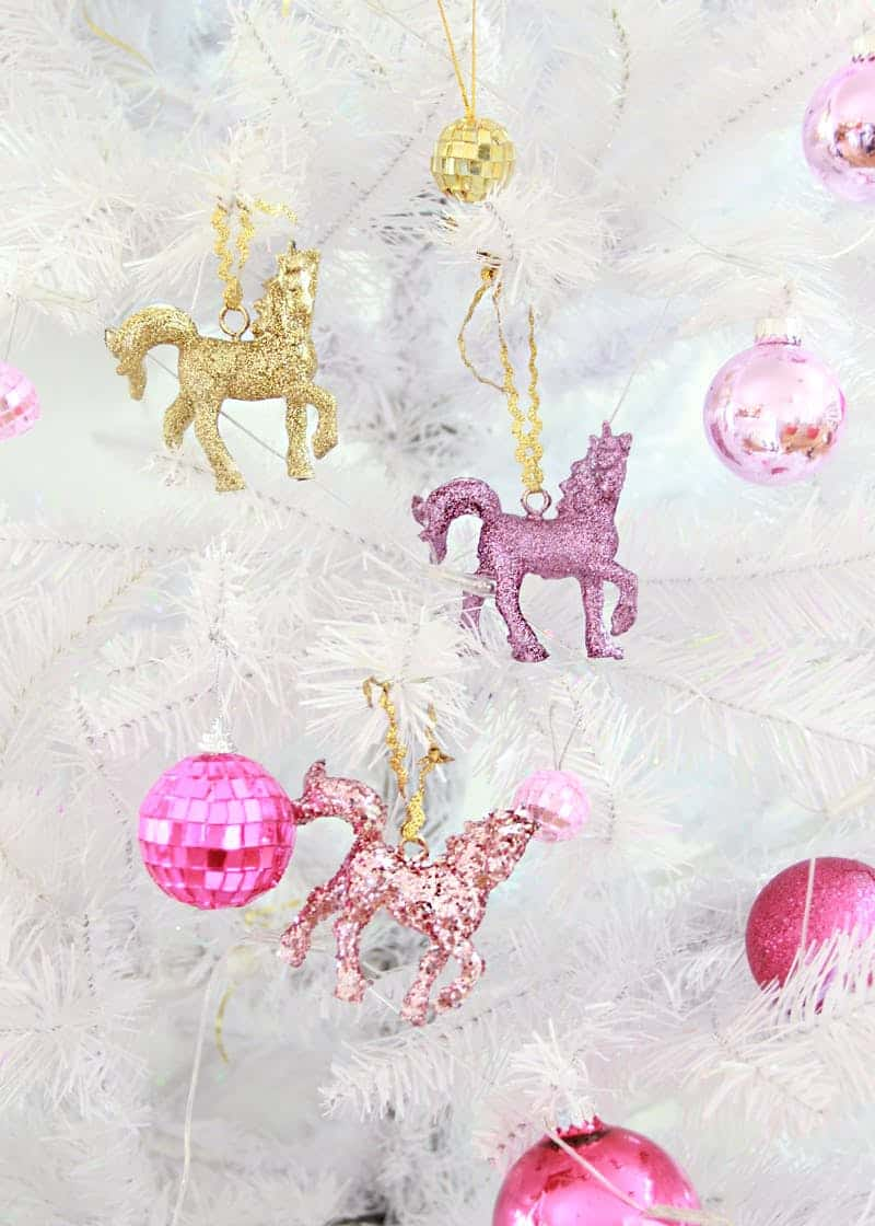 Diy glitter unicorn ornaments
