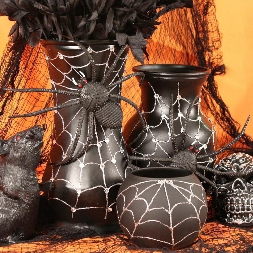 Diy spider web vase spooky spider