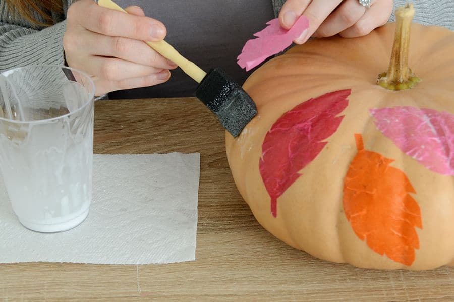 Diy tissue paper leaf pumpkin mixture