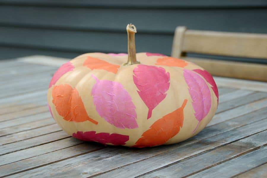 Diy tissue paper leaf pumpkin