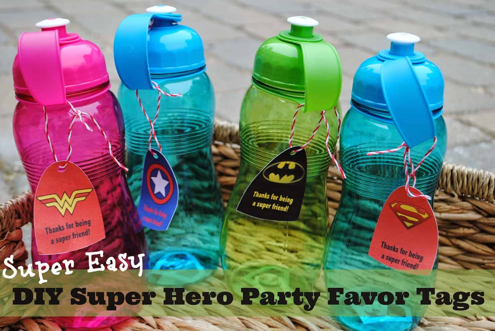 Diy super hero water bottle party favour tags