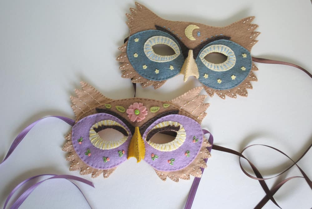 Embellished and embroidered felt owl masks