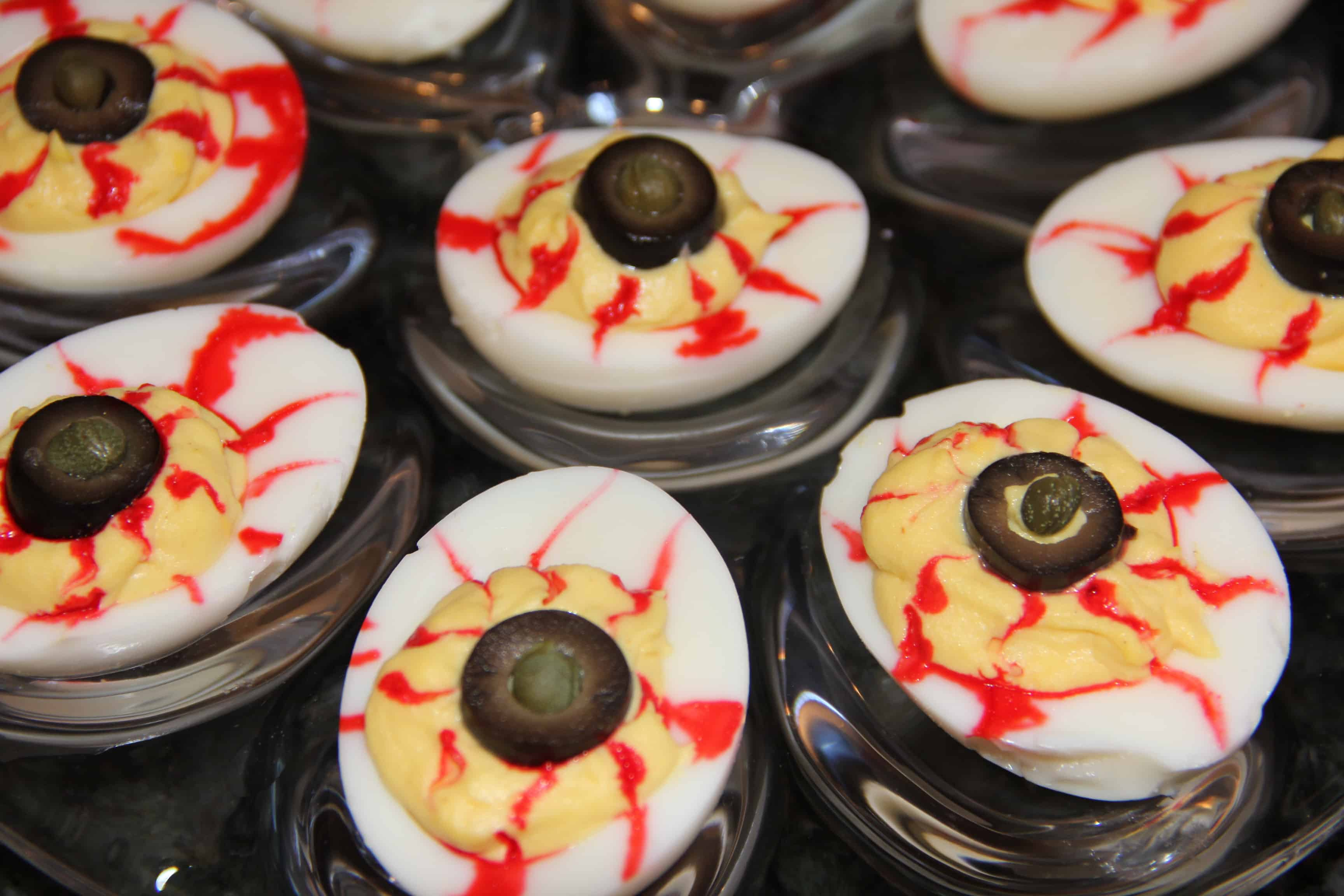 Eyeball deviled eggs