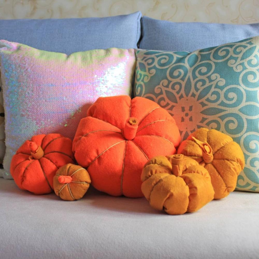 Fabric halloween pumpkin decor